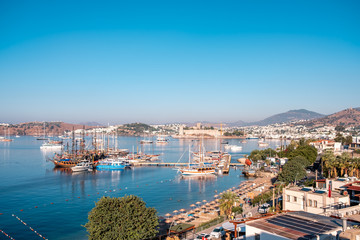 Printed roller blinds Turkey Bodrum Town, Turkey. aerial view panorama photo of Bodrum Downtown