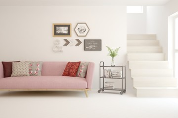 Stylish room in white color with sofaand stair. Scandinavian interior design. 3D illustration