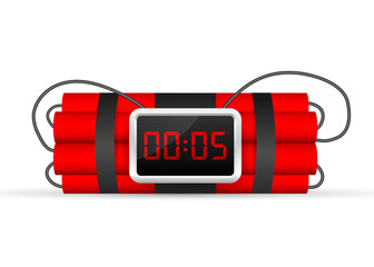 Red dynamite pack with electric time bomb, TNT. Vector stock illustration.