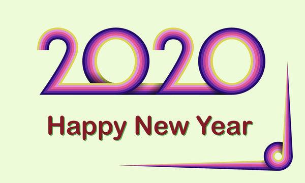 2020 Happy New Year Retro template calendar design