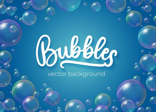 Festive bubbles with rainbow reflection vector illustration. Transparent soap balls with glares, highlights and gradient on blue background for your design