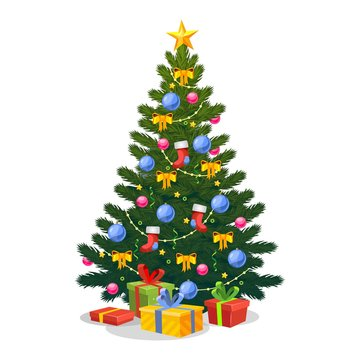 Christmas tree with Xmas star, balls and lights vector illustration. Cartoon green pine with candies, stocking, garland and gift boxes. Happy New year concept. Isolated on white