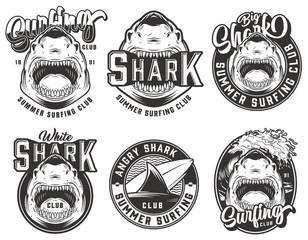 Vintage summer surfing club labels set