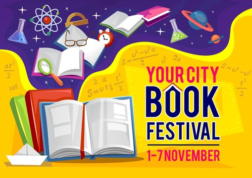 Your city book festival in September banner or flyer invitation vector illustration. Poster open textbook, flask and ruler, loupe and clock symbol. Educational postcard with formulas