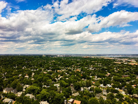Overhead Distant Aerial View of US capital in Washington DC