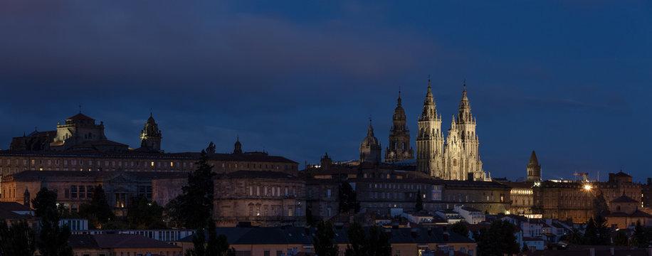 Santiago de Compostela wide panoramic view at night. UNESCO World Heritage Site. Galicia, Spain