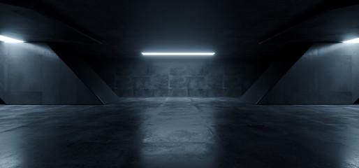 Sci Fi Futuristic Background Concrete Grunge Column Pillars Dark Underground Hall Corridor Tunnel Led Lights Laser White Blue Reflection Alien 3D Rendering Fotomurales