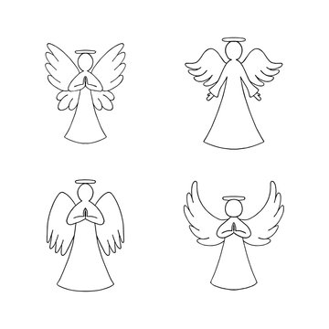 Vector set of four angels outline on white background. Religion decorative elements for New year, Christmas card