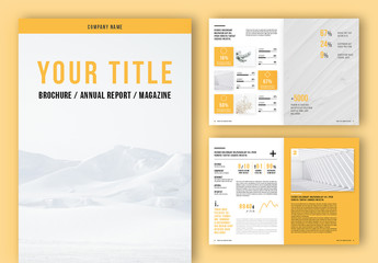 Annual Report Brochure Layout with Yellow Accents