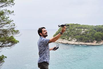 Pilot take off drone.