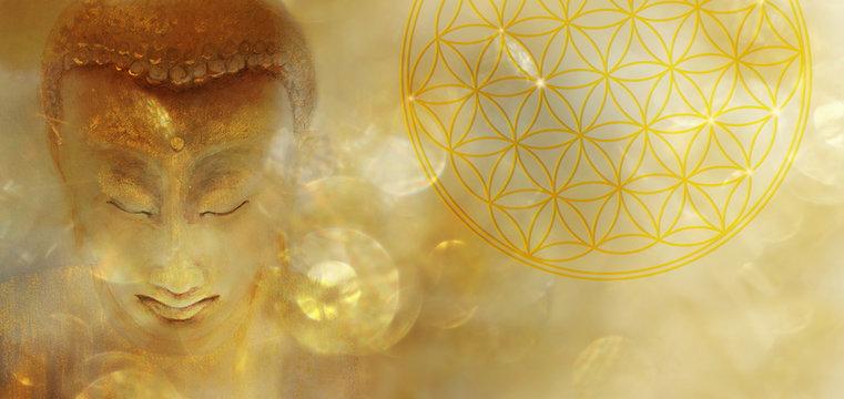 Banner Buddha mit Blume des Lebens in goldenem Licht