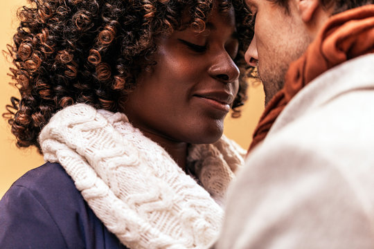 Multiethnic young couple having romantic moments