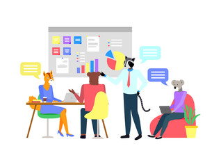 Hipster animals working in office, teamwork on workplace. Team of fox and raccoon, bear and koala character working with laptop, board with charts. Vector illustration in flat cartoon style