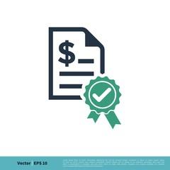 Check mark Award Rosette Stamp Paper Icon Vector Logo Template Illustration Design. Vector EPS 10.