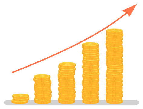 Profit increase graph, investment growth graphic. Coins stack and arrow, business and finance, development chart, banking and economy, statistics. Vector illustration in flat cartoon style