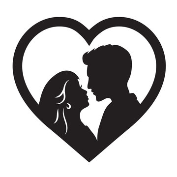 Laser cut template of male and female silhouette opposite each other. Couple in love. Bride and groom in heart frame for wedding invitation card or table topper. Faces in profile at Valentine's day.
