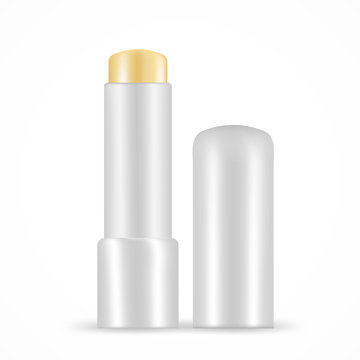Lip balm vector set isolated on white. Opened stick mock up with grey plastic container. Moisturizing 3d natural beewax essence for lip skin protection. Ecological product for posters, ads, banners.