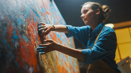 Fototapete - Talented Innovative Female Artist Draws with Her Hands on the Large Canvas, Using Fingers She Creates Colorful, Emotional, Sensual Oil Painting. Contemporary Painter Creating Abstract Modern Art