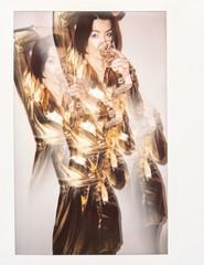 Fancy Woman Drinking Champagne Kaleidoscope