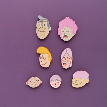 Family faces. Family faces illustration draw and painted with watercolors.