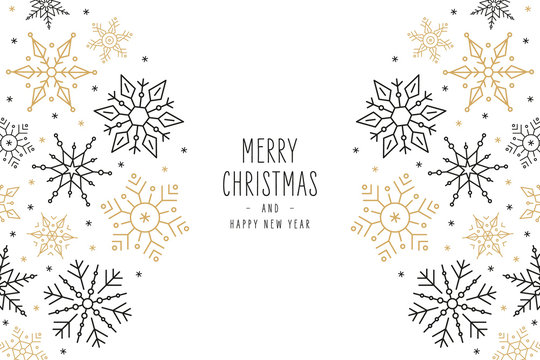 Christmas snowflakes elements ornaments greeting card on white background