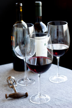 red wine glasses on a table