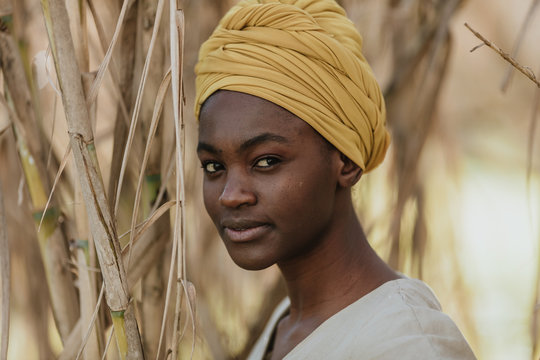 Portraits of a African woman at nature