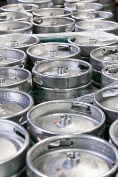 Brewery: Beer Kegs Sit In Warehouse