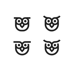 Slats personalizados com sua foto owl set icon vector