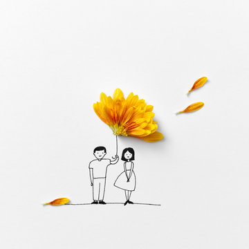 A drawing of a man and a woman with an umbrella of orange petals