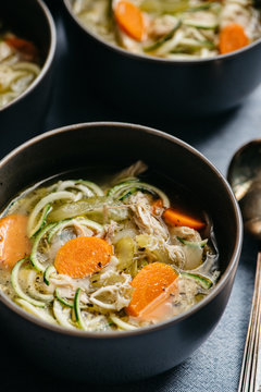 Close up Chicken Zoodle Soup