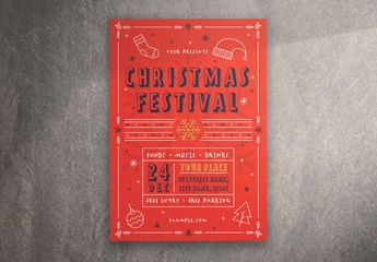 Christmas Festival Flyer Layout with Illustrative Elements