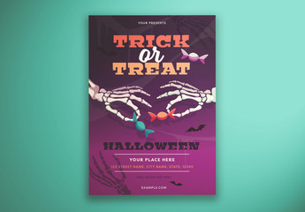 Trick Or Treat Flyer Layout with Illustrated Skeleton Hands
