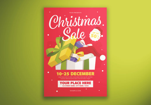 Christmas Sale Gift Flyer Layout with Illustrated Presents