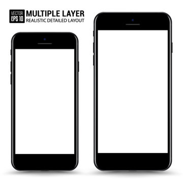 Realistic Scale of Big and Small Smartphone Isolated. Black Color. Front View For Print, Web, Application. High Detailed Device Mockup Separate Groups and Layers. Easily Editable Vector.