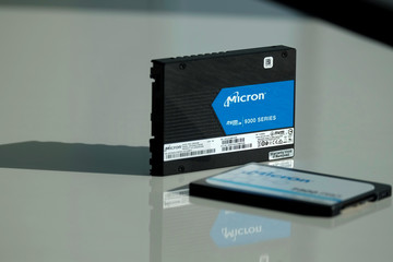 Micron Technology's solid-state drive for data center customers is presented at a product launch event in San Francisco
