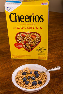 Bowl of Cheerios on Wood Table