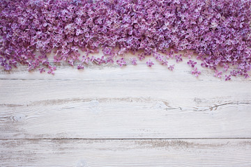Spring lilac flowers on a wooden background for congratulations