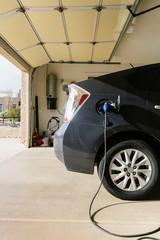 Electric Car Charging in Garage