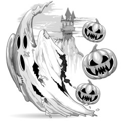 In de dag Draw Ghost and Evil Pumpkins funny Nightmare Escape Halloween Vector Illustration isolated on white