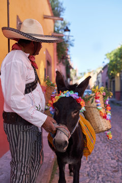 Traditionally dressed Mexican man with sombrero