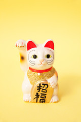 Maneki Neko good fortune or Japanese lucky cat on yellow background