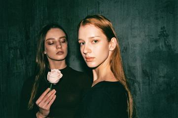 Cinematic Indoor Portrait of Two Beautiful Young Women Shot on Film