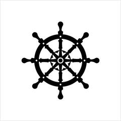 Ship Steering Wheel Icon, Boat, Yacht Steering Wheel