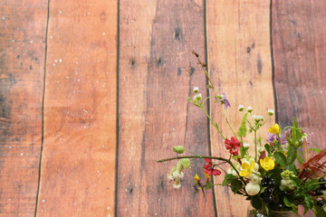 Wild flowers on an old wooden background, autumn, nature, flowers