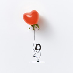 Graphic image of little girl with balloon in the shape of red tomato on white background.