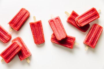 Red Raspberry & Peach ice lollies frozen