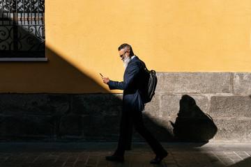 Senior businessman using his phone in the street