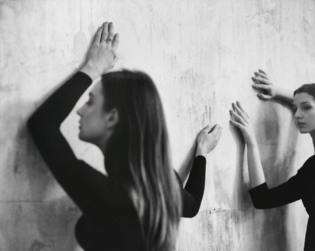 Two Graceful Young Women Dancing Freeform Together