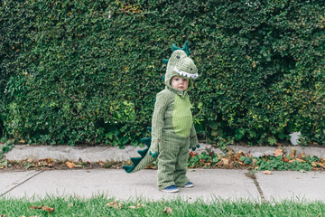 Toddler standing on the sidewalk in a dinosaur costume